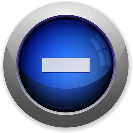 minus: Blue glossy minus web button