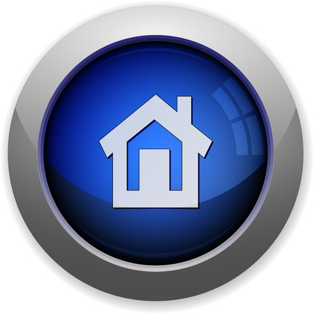 sphere base: Blue glossy home web button Illustration