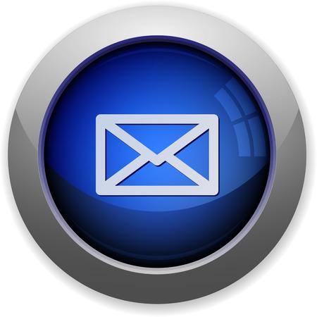 web button: Blue glossy mail web button