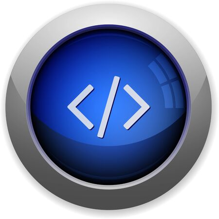 modifiable: Blue glossy web code buttonArranged layer structure, fully modifiable