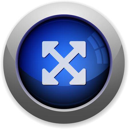 resize: Blue glossy resize full web button