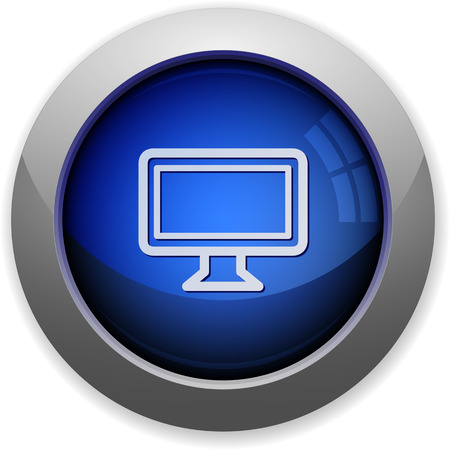 Blue glossy monitor web button