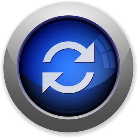 refresh button: Blue glossy refresh web button