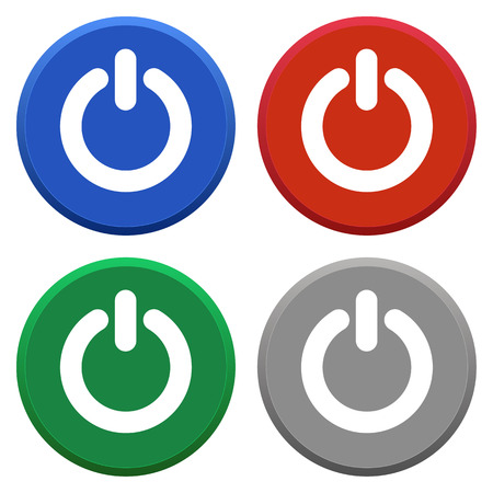 power off: Round icon set of power off in multiple colors