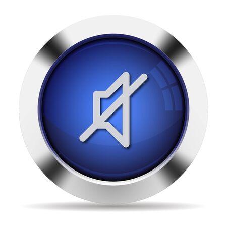 mute: Blue glossy steel mute button