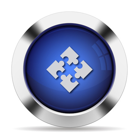 Blue glossy steel modules button