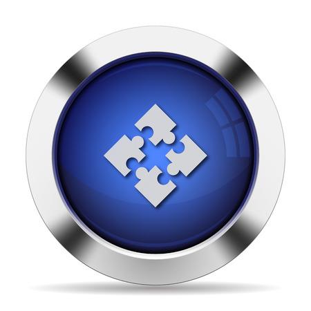 modules: Blue glossy steel modules button