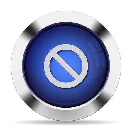 blocked: Blue glossy steel blocked button