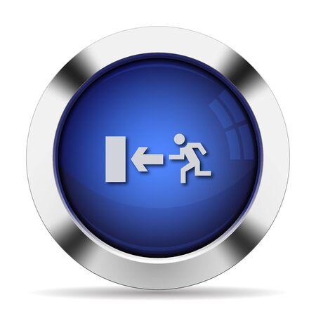 Botón de salida de acero brillante azul Foto de archivo - 46242842