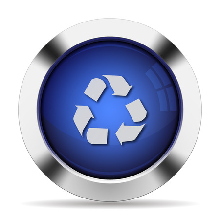 waste recovery: Blue glossy steel recycle button Illustration