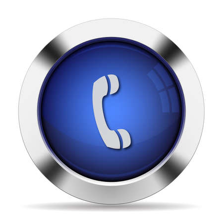 call button: Blue glossy steel call button