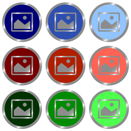 color swatches: Set of glossy round flat image icon in 9 colors.Well Organized layer structure and color swatches.
