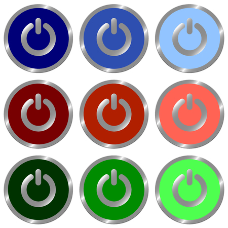 color swatches: Set of glossy round flat power off icon in 9 colors.Well Organized layer structure and color swatches.