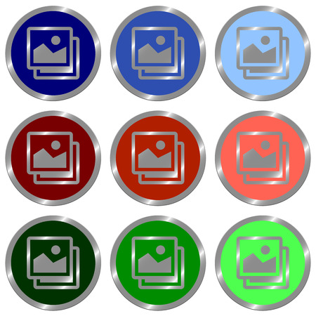 color swatches: Set of glossy round flat icon images in nine colors.Well Organized layer structure and color swatches.
