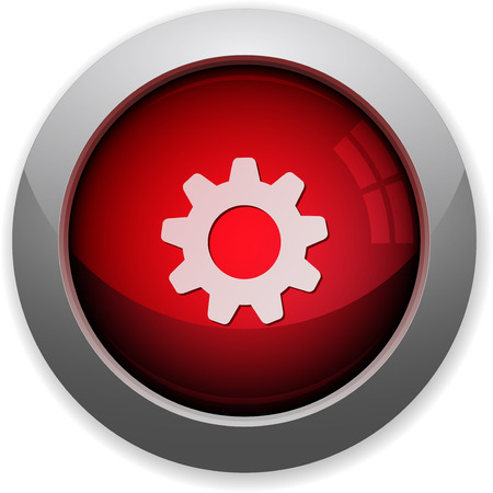 web button: Red glossy gear web button Illustration