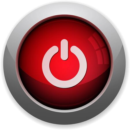power off: Red glossy power off web button