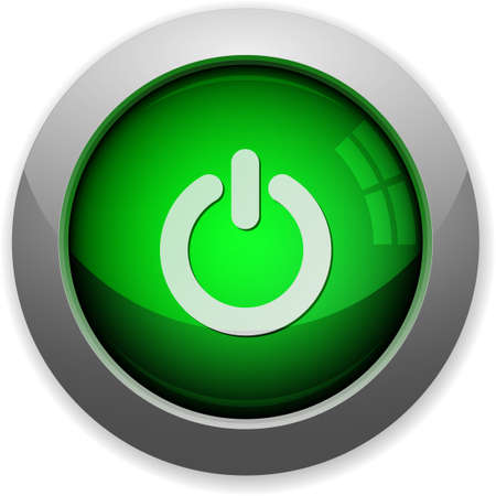green power: Green glossy steel power off button. Arranged layer structure. Illustration