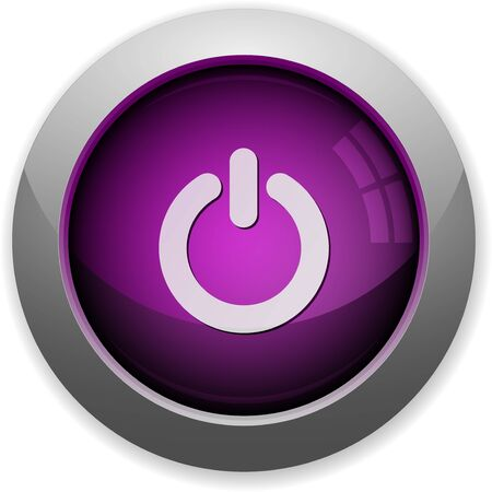power off: Purple glossy steel power off button. Arranged layer structure.