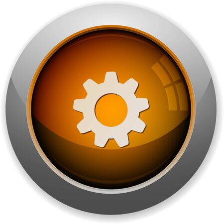 steel structure: Orange glossy steel gear button. Arranged layer structure.