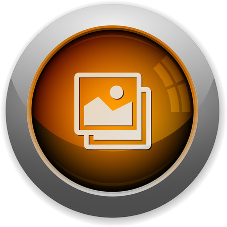 arranged: Orange glossy steel images button. Arranged layer structure. Illustration