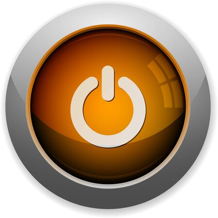 on off button: Orange glossy steel power off button. Arranged layer structure. Illustration