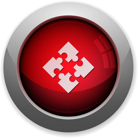 Red glossy modules web button. Arranged layer structure.