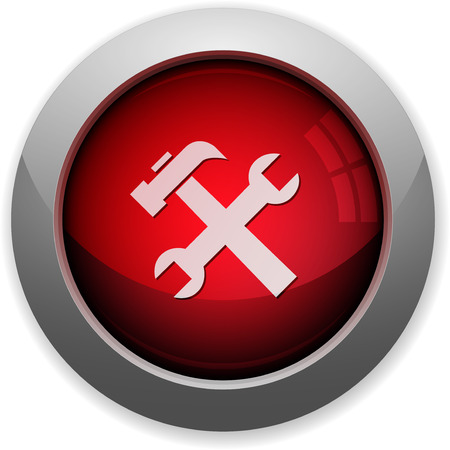 computer button: Red glossy tools web button. Arranged layer structure. Illustration