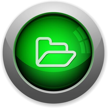web directories: Green glossy folder web button. Arranged layer structure.