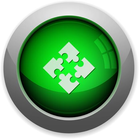 modules: Green glossy modules web button. Arranged layer structure.