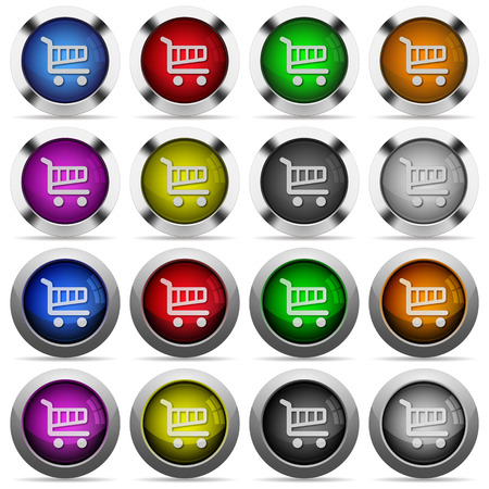 color swatches: Set of 16 round glossy color cart web buttons with shadows. Fully organized layer structure and color swatches. Easy to recolor or make hover effects, etc.