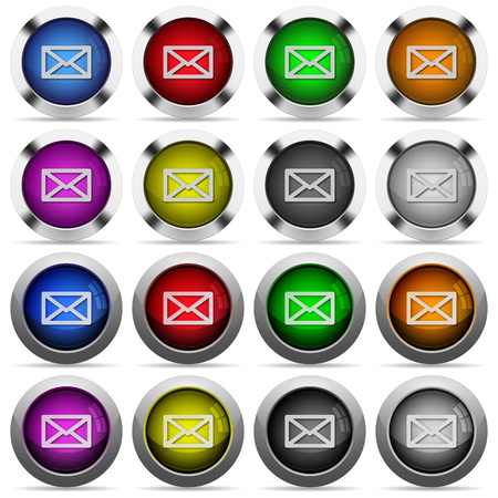 color swatches: Set of 16 round glossy color mail web buttons with shadows. Fully organized layer structure and color swatches. Easy to recolor or make hover effects, etc. Illustration