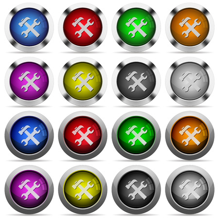 hover: Set of 16 round glossy color tools web buttons with shadows. Fully organized layer structure and color swatches. Easy to recolor or make hover effects, etc. Illustration