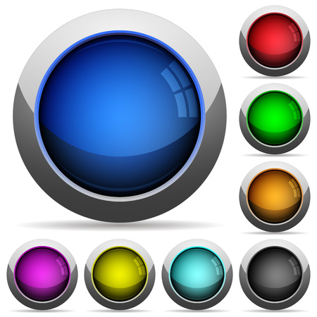 Set of round glossy empty buttons. Arranged layer structure.