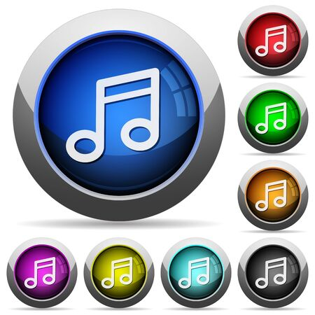 music buttons: Set of round glossy music buttons. Arranged layer structure. Illustration
