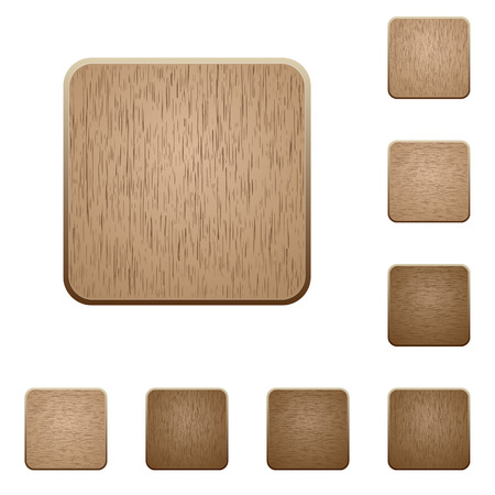 Set of carved wooden blank buttons. 8 variations included. Arranged layer structure.