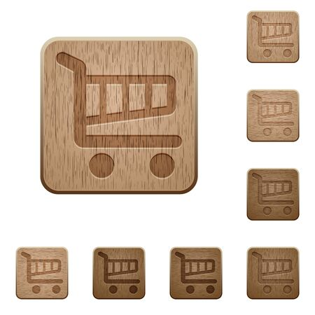 variations: Set of carved wooden cart buttons. 8 variations included. Arranged layer structure.