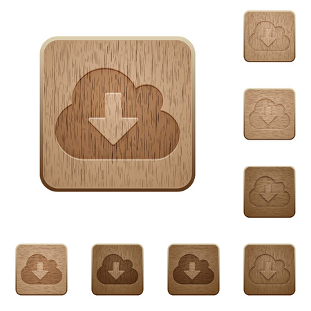 obtain: Set of carved wooden cloud download buttons. 8 variations included. Arranged layer structure.
