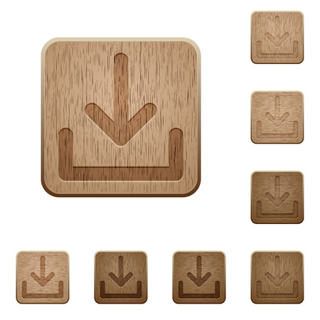 obtain: Set of carved wooden download buttons. 8 variations included. Arranged layer structure.