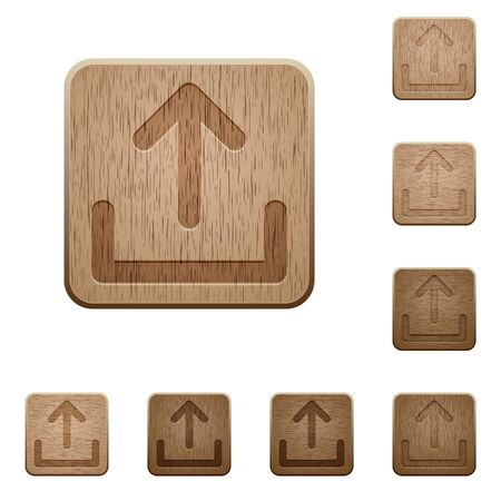 variations: Set of carved wooden upload buttons. 8 variations included. Arranged layer structure.