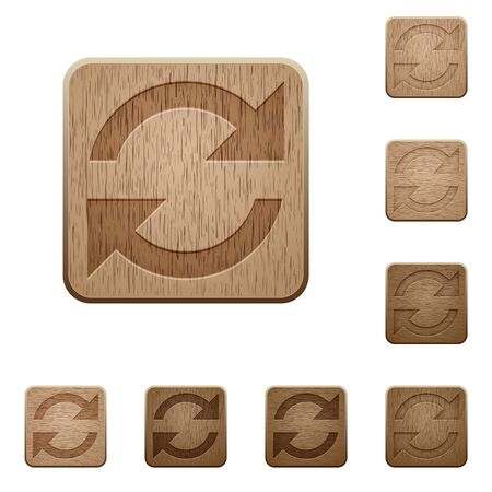 variations set: Set of carved wooden refresh buttons. 8 variations included. Arranged layer structure.