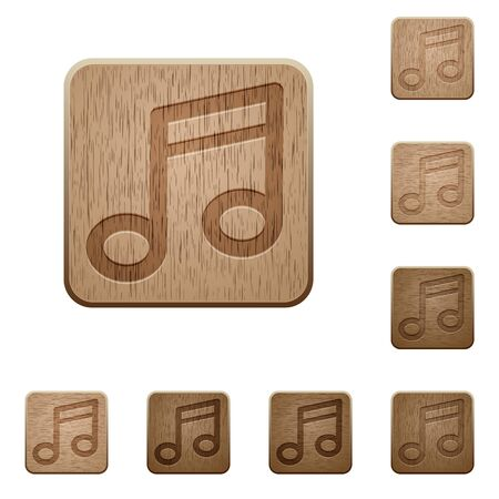 music buttons: Set of carved wooden music buttons. 8 variations included. Arranged layer structure.