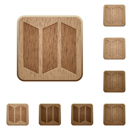 carved: Set of carved wooden map buttons. 8 variations included. Arranged layer structure. Illustration
