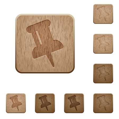 commercial painting: Set of carved wooden pin buttons. 8 variations included. Arranged layer structure.