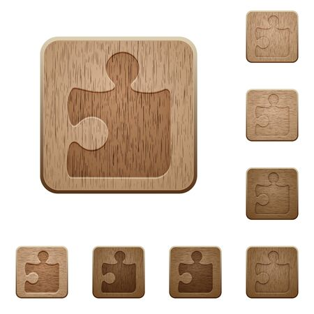carved: Set of carved wooden puzzle buttons. 8 variations included. Arranged layer structure.