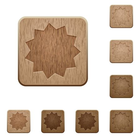 variations: Set of carved wooden certificate buttons. 8 variations included. Arranged layer structure.