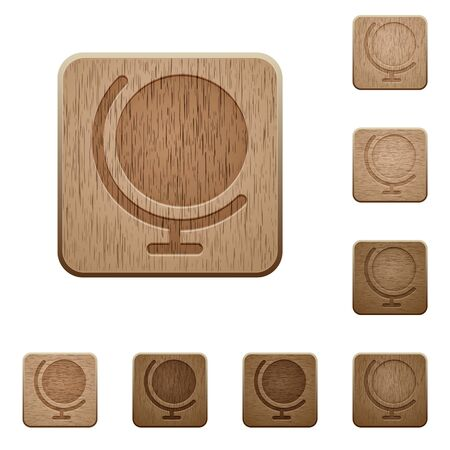 variations: Set of carved wooden globe buttons. 8 variations included. Arranged layer structure.