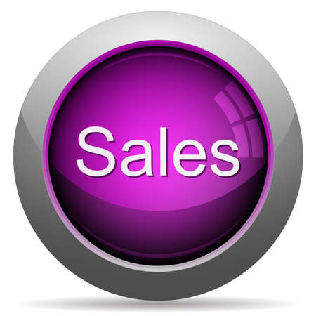 arranged: Purple glossy sales concept button. Arranged layer structure. Illustration