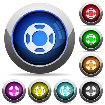 lifesaver: Set of round glossy lifesaver buttons. Arranged layer structure. Illustration