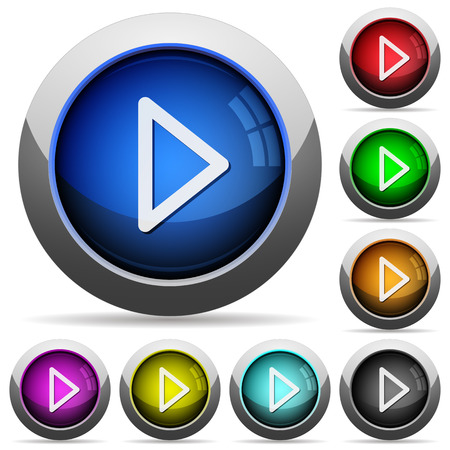 arranged: Set of round glossy media play buttons. Arranged layer structure. Illustration