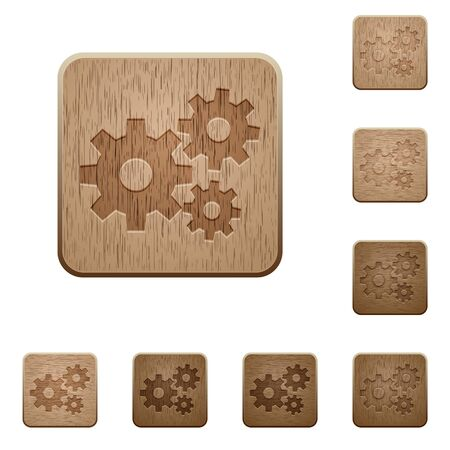 polished wood: Set of carved wooden gears buttons. 8 variations included. Arranged layer structure.